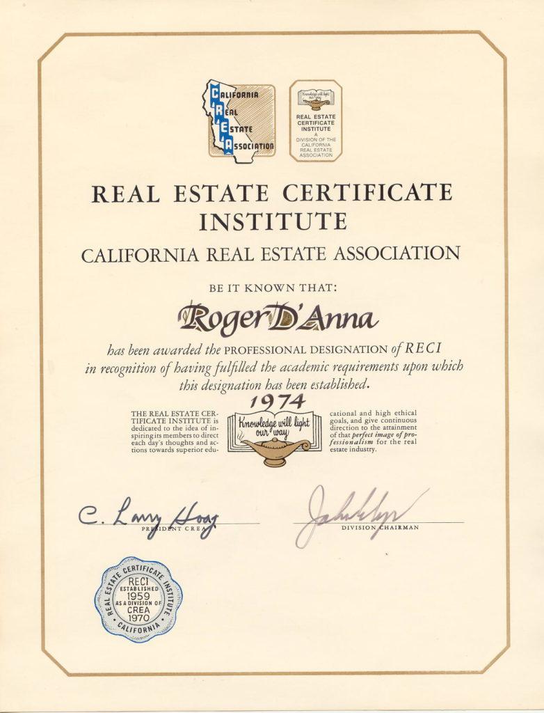 RECI Certificate