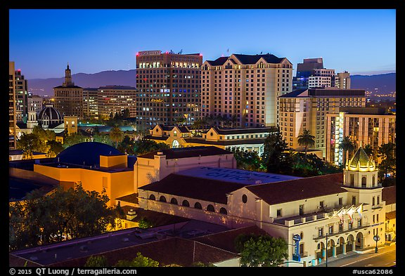 City National Civic and city skyline at night. San Jose, California, USA